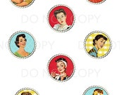 Printable DIY Retro Housewife Theme Cupcake Toppers