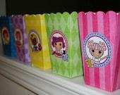 Printable DIY Button Doll Theme POPCORN Favor Boxes