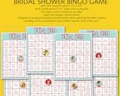 DiY Printable Retro Houswife Theme Bingo Bridal Shower Game - INSTANT DOWNLOAD