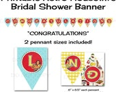 Printable DIY Retry Housewife Theme Bridal Shower Banner - Congratulations