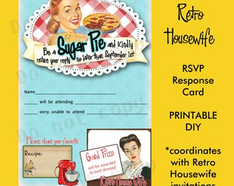 Printable DIY Retro Housewife Theme Bridal Shower Party RSVP Response Card