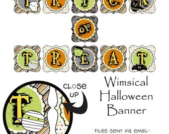 Printable Halloween Party Theme Trick or Treat Banner