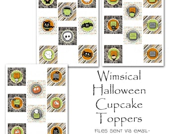 Customized Printable DIY Halloween Party Theme Cupcake Toppers