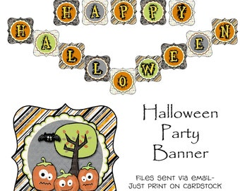 Printable Happy Halloween Party Theme Banner