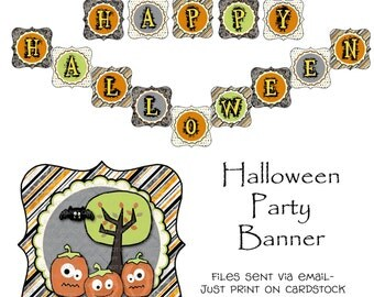 Printable Happy Halloween Party Theme Banner