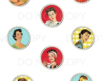 Printable DIY Retro Housewife Theme Cupcake Toppers