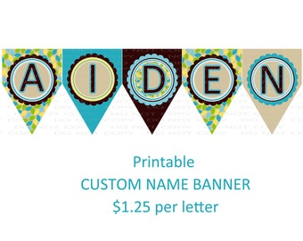 Custom name banner - coordinates with owl birthday (up to 5 letters)