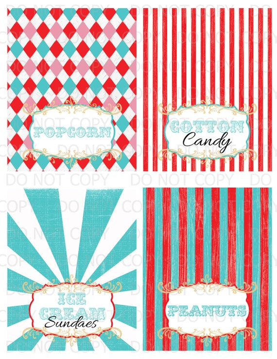 Printable DIY Vintage Circus colorful Table Tent Food Labels- 4 designs customized