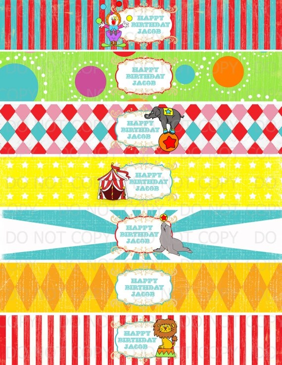 Printable DIY Vintage Circus or Carnival Theme Water Bottle Labels