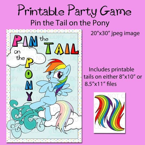 """Printable DIY Pin the Tail on the Pony Game Party Poster 20"""" x 30"""" - INSTANT DOWNLOAD"""