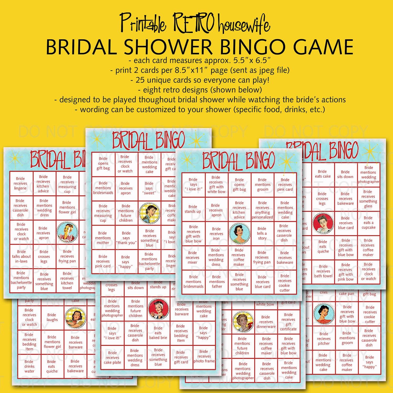 Universal image within printable bridal bingo