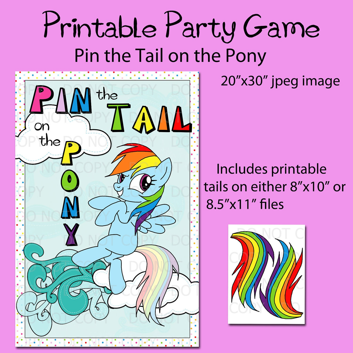 Best 20 Rainbow Party Games Ideas On Pinterest: Printable DIY Pin The Tail On The Pony Game Party Poster