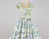 Vintage 1950s Roses and Polka Dots Dress