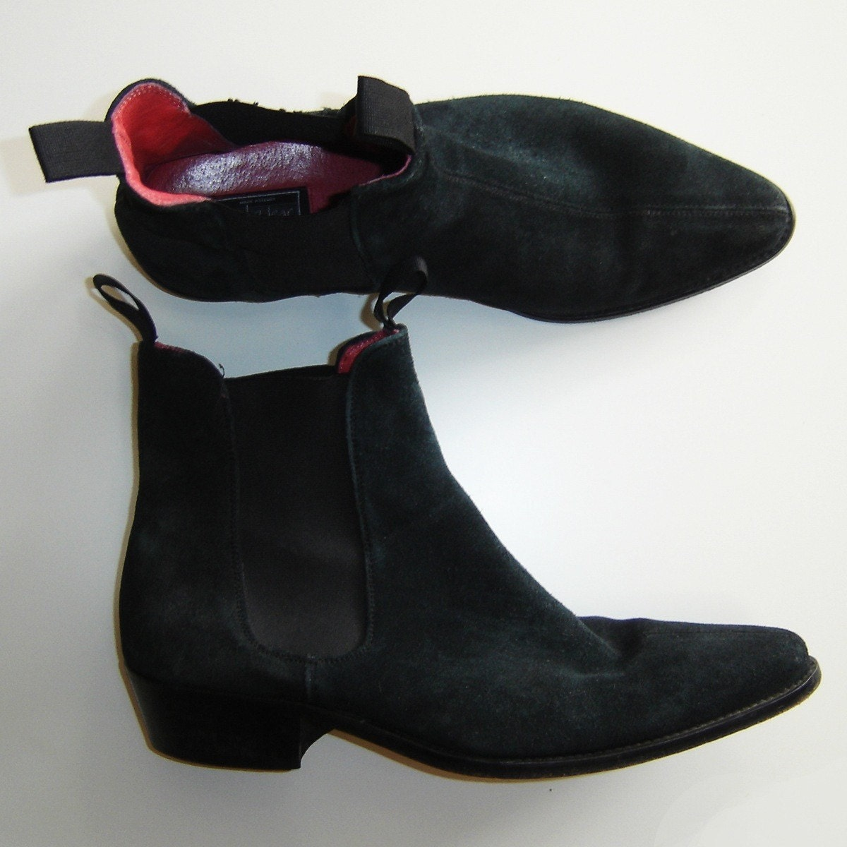 black leather suede beatle ankle boots by beatwear size