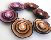 6 pcs leather cabochon flowers for crafts