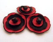 Red and black leather flowers 3 pcs