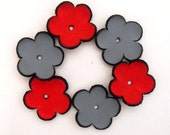 6 pc charm flowers from leather. Red grey