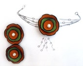 Cabochon flowers. Set of 3 leather flowers
