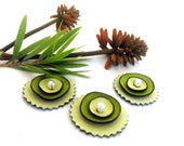 Flat back cabochon flowers from leather. Set of 3 pcs