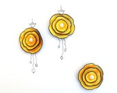 Rose  cabochon flowers from leaher. Leather flowers yellow orange 3 pcs