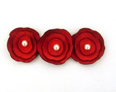 Red leather cabochon flowers. Jewelry supplies. Set of 3