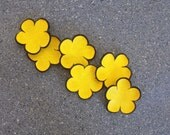 Jewelry supplies yellow leather flowers without hole.