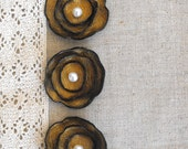 Antique gold leather cabochon flowers. Jewelry supplies. Set of 3