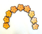 Jewelry supplies leather flowers Tangerine and coral colors