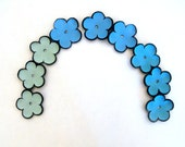 Jewelry supplies leather flowers Shades of blue and mint