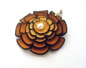 Flower pendant from leather. Jewelry supplies