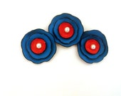 Red and blue flower cabochon Leather flowers