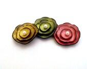 Leather cabochon flowers Metalic colors 3 pcs 25% OFF SALE