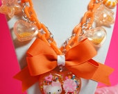Hello Kitty lollipop Orange Crush  Chunky Yummy Charms Kawaii Necklace