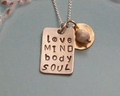 Personalized Hand Stamped Love Mind Body and Soul Necklace-Sterling Silver and gold filled- Love Mind Body and Soul Necklace