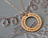 Gold Washer Necklace=Hand Stamped Custom-14 K Gold Filled- Circle of Names Necklace