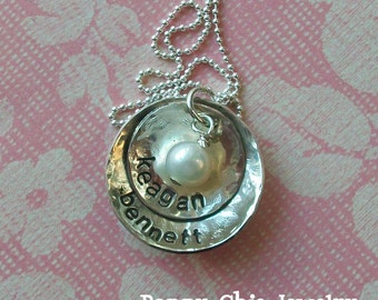 Hand Stamped Mothers Jewelry, Personalized Necklace with Pearl, Personalized Mom Necklace, Hand Stamped Necklace, Sterling Silver