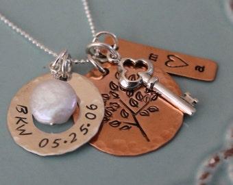 Family Tree Necklace, Family Name Necklace, Mixed Metals Charm, Custom Family Necklace, Name Charms, Tree Charm
