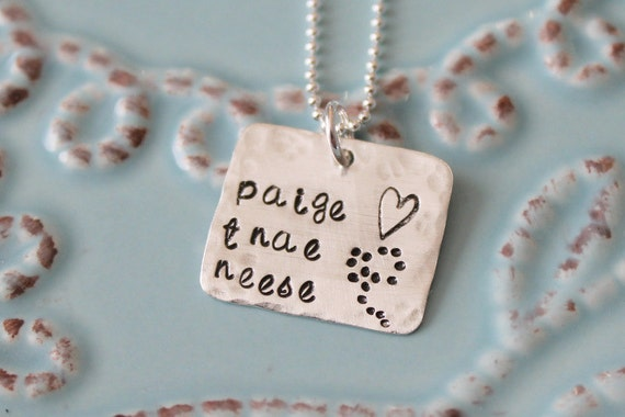 Hand Stamped Mother's Necklace-Sterling Silver Square -Kids Name Necklace
