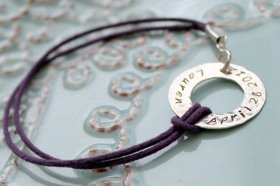 Cord Bracelet-Hand Stamped Sterling Washer and Cotton Cord Bracelet