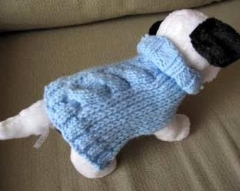 Hand Knit Toy Teacup Dog Sweater Coat Blue XS Extra Small