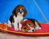 Beagle Puppy - Hawaiian Style Puppy Love original oil painting by artist Kathy McCartney