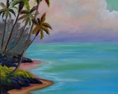 Beach Oil Painting by Kathy McCartney
