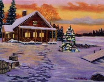 """Snow Cabin rendition oil painting- Subject taught in art class Oil on canvas, 11"""" x 14"""" painted by Kathy McCartney"""