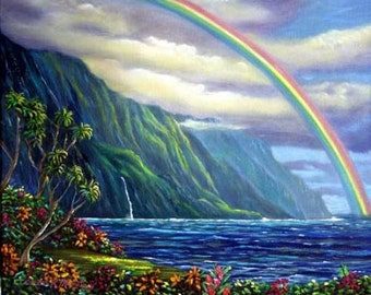 Somewhere Over The Rainbow Lies Heaven on Earth - oil painting by Kathy McCartney