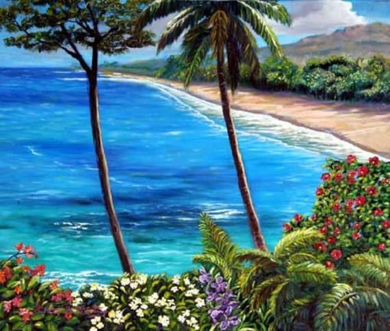 Hamoa Beach, Hana - Maui original oil painting by Kathy McCartney