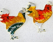 Set of TWO--Recycled Soda Can Art - --Small Chicken/Rooster
