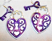 Set of Purple Hearts Lockets and Key-Set of Two-Recycled Soda Can Art -Large-- IntricateHeart Locket and Key--Magnet or Gift Tag