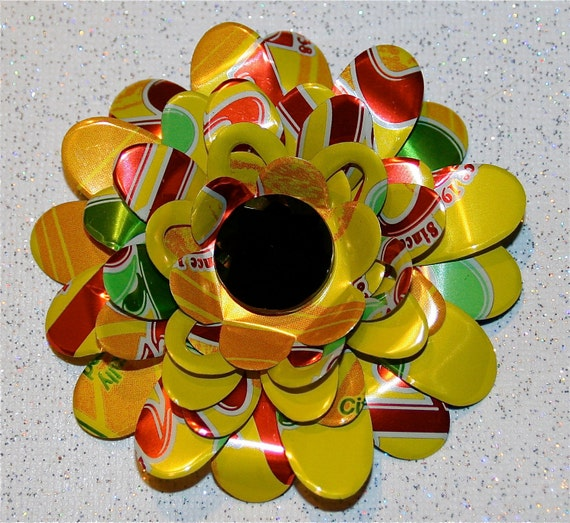 Recycled Soda Can Art-Large Multi Layered 3D  Daisy Flower with Large  Rhinestone Center-Magnet