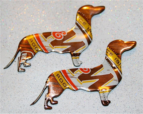 Set of Two----Recycled Soda can Art-Dachshund Puppy Dog  Pair-- Magnet or Tags