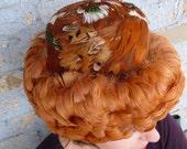 1960s Orange Feather Hat